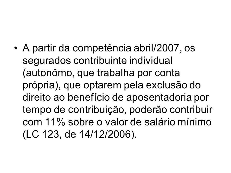 A partir da competência abril/2007, os segurados contribuinte individual (autonômo, que trabalha por conta própria), que optarem pela exclusão do dire