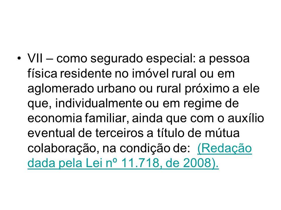 VII – como segurado especial: a pessoa física residente no imóvel rural ou em aglomerado urbano ou rural próximo a ele que, individualmente ou em regi
