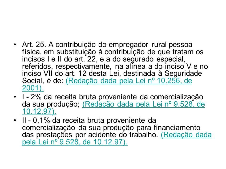 Art. 25. A contribuição do empregador rural pessoa física, em substituição à contribuição de que tratam os incisos I e II do art. 22, e a do segurado