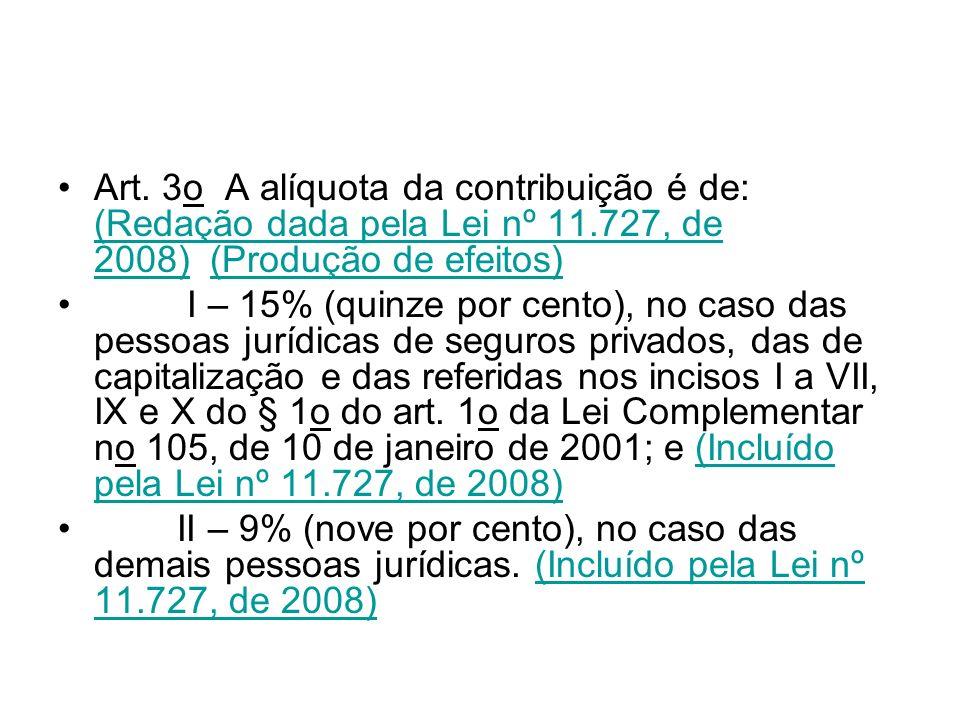 Art. 3o A alíquota da contribuição é de: (Redação dada pela Lei nº 11.727, de 2008) (Produção de efeitos) (Redação dada pela Lei nº 11.727, de 2008)(P