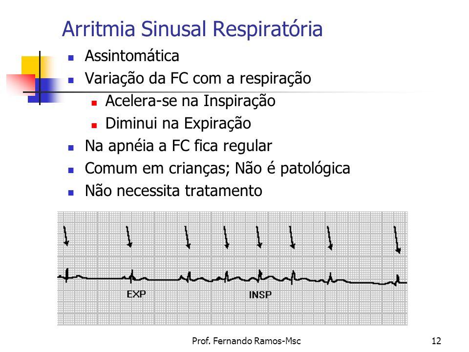 Prof. Fernando Ramos-Msc12 Arritmia Sinusal Respiratória Assintomática Variação da FC com a respiração Acelera-se na Inspiração Diminui na Expiração N