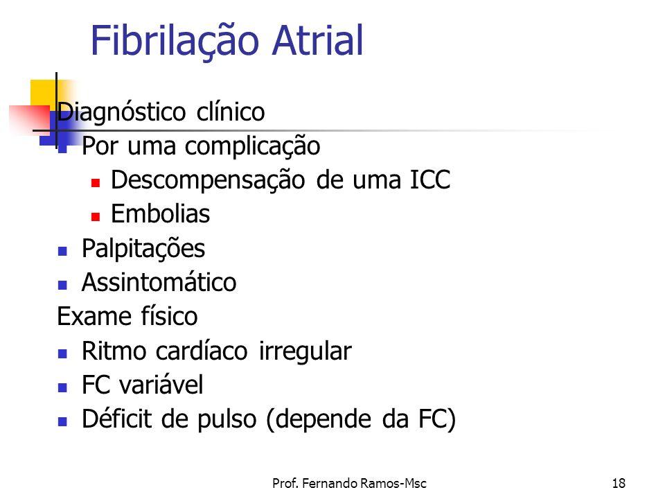 Prof. Fernando Ramos-Msc18 Fibrilação Atrial Diagnóstico clínico Por uma complicação Descompensação de uma ICC Embolias Palpitações Assintomático Exam