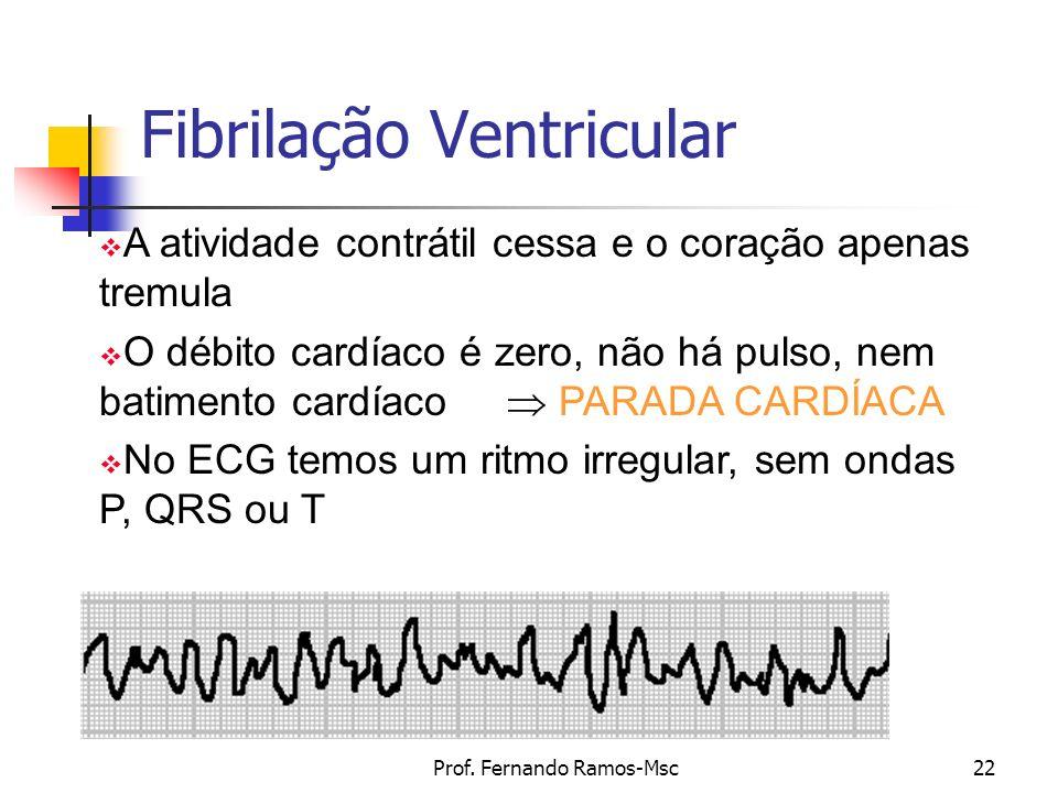 Prof. Fernando Ramos-Msc22 Fibrilação Ventricular A atividade contrátil cessa e o coração apenas tremula O débito cardíaco é zero, não há pulso, nem b