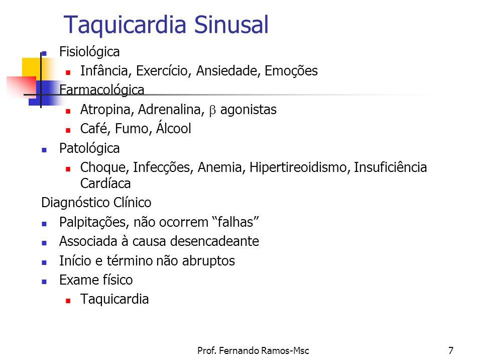 Prof. Fernando Ramos-Msc7 Taquicardia Sinusal Fisiológica Infância, Exercício, Ansiedade, Emoções Farmacológica Atropina, Adrenalina, agonistas Café,