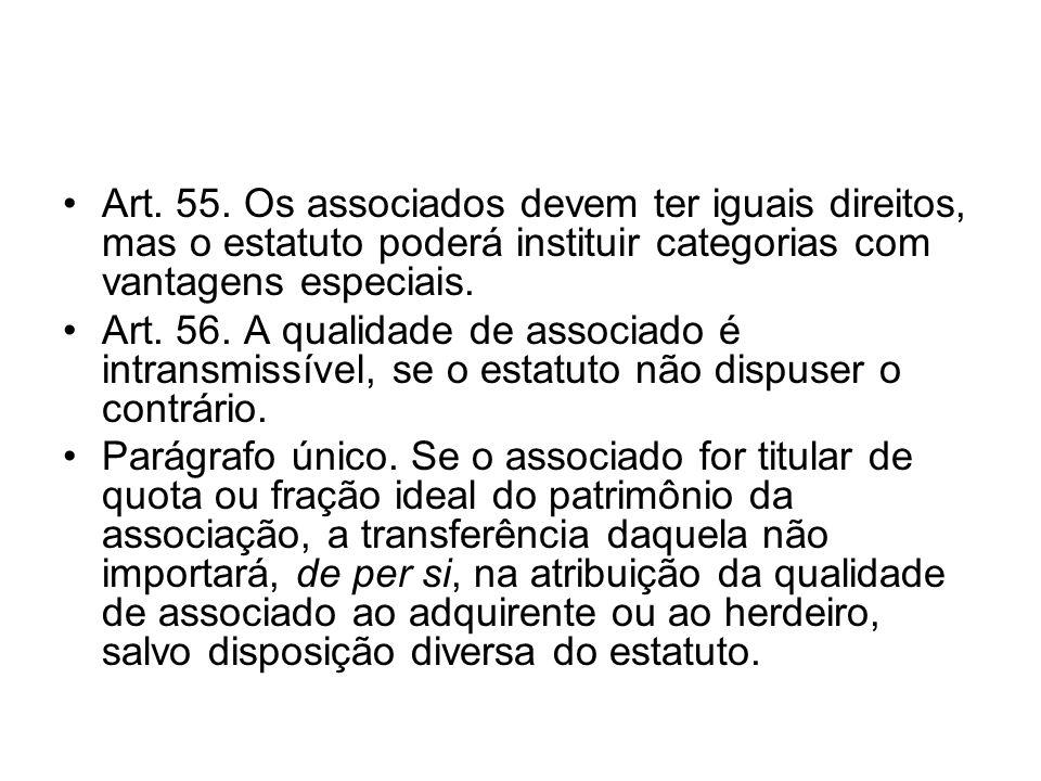 Art. 55. Os associados devem ter iguais direitos, mas o estatuto poderá instituir categorias com vantagens especiais. Art. 56. A qualidade de associad