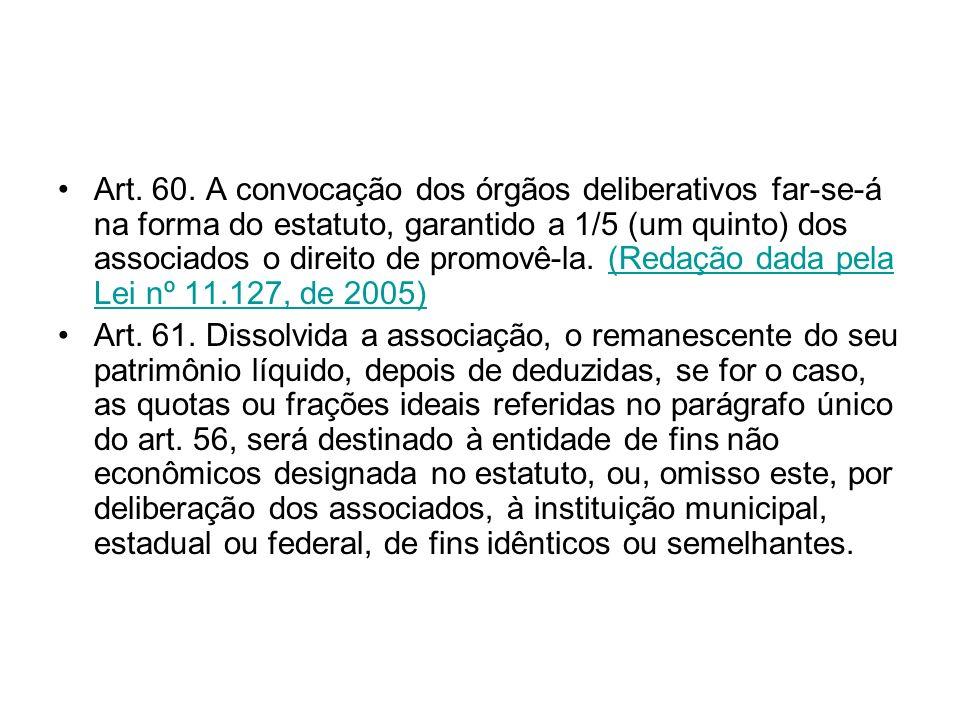 Art. 60. A convocação dos órgãos deliberativos far-se-á na forma do estatuto, garantido a 1/5 (um quinto) dos associados o direito de promovê-la. (Red