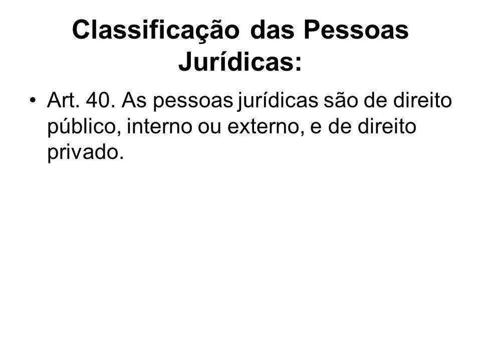 Pessoas Jurídicas de Direito Público: externo: os países estrangeiros e organismos internacionais (ex.: ONU); interno: a União, os Estados, os Municípios, as autarquias e as fundações públicas.