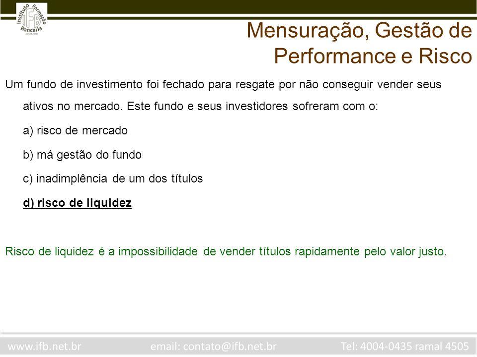Um fundo de investimento foi fechado para resgate por não conseguir vender seus ativos no mercado. Este fundo e seus investidores sofreram com o: a) r