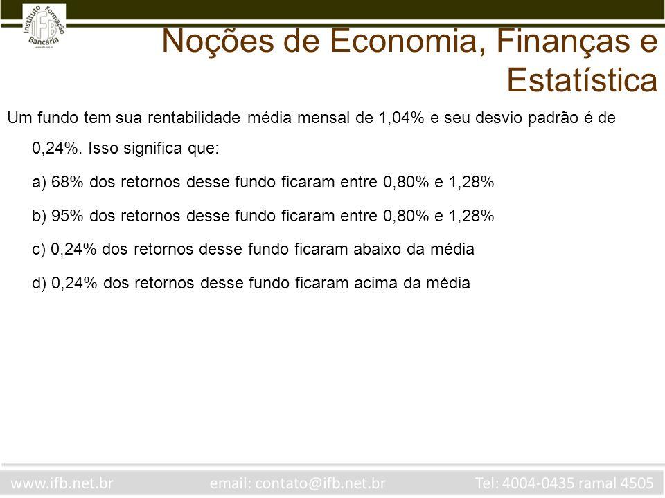 Um fundo tem sua rentabilidade média mensal de 1,04% e seu desvio padrão é de 0,24%. Isso significa que: a) 68% dos retornos desse fundo ficaram entre