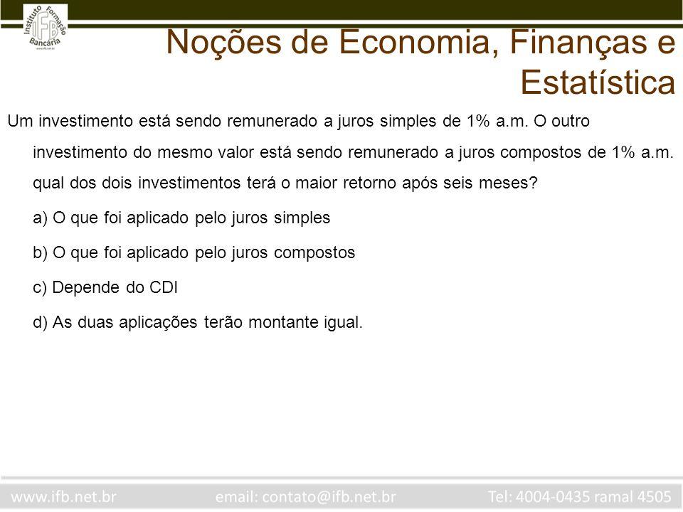 Um investimento está sendo remunerado a juros simples de 1% a.m. O outro investimento do mesmo valor está sendo remunerado a juros compostos de 1% a.m