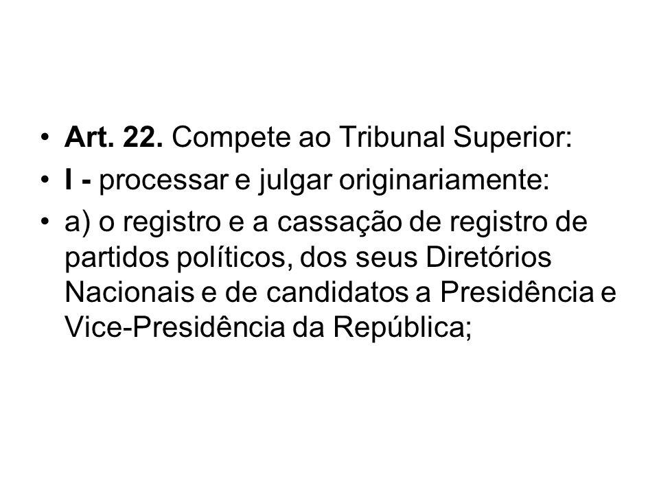 Art. 22. Compete ao Tribunal Superior: I - processar e julgar originariamente: a) o registro e a cassação de registro de partidos políticos, dos seus