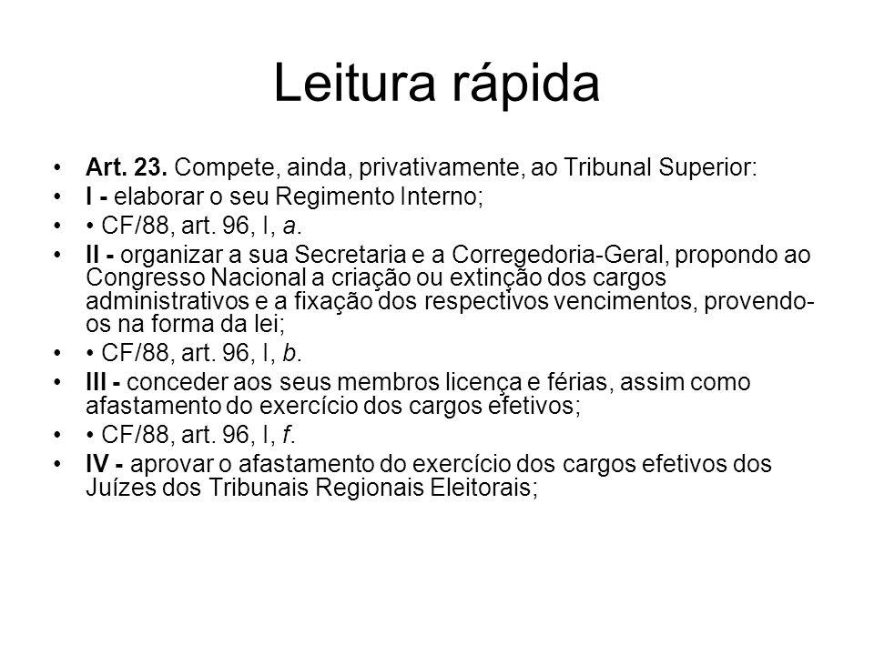 Leitura rápida Art. 23. Compete, ainda, privativamente, ao Tribunal Superior: I - elaborar o seu Regimento Interno; CF/88, art. 96, I, a. II - organiz
