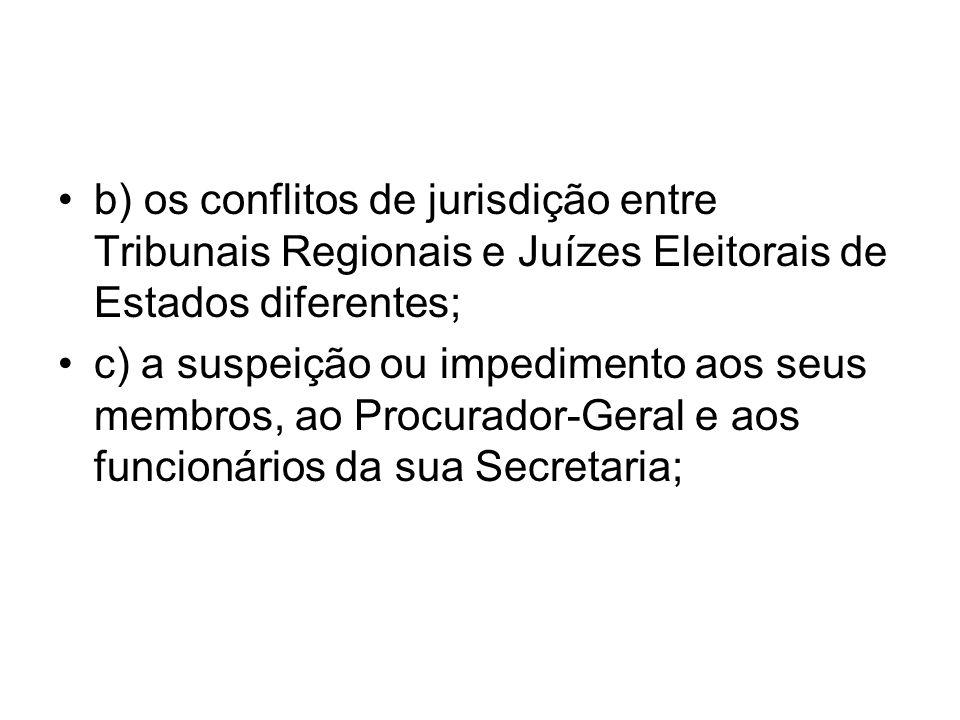 b) os conflitos de jurisdição entre Tribunais Regionais e Juízes Eleitorais de Estados diferentes; c) a suspeição ou impedimento aos seus membros, ao