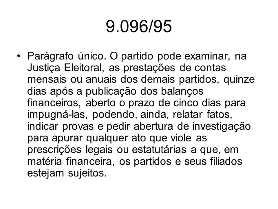 9.096/95 Parágrafo único. O partido pode examinar, na Justiça Eleitoral, as prestações de contas mensais ou anuais dos demais partidos, quinze dias ap
