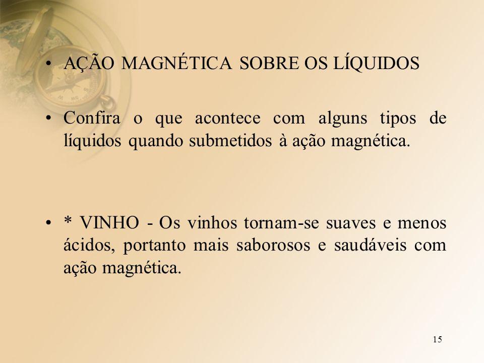 15 AÇÃO MAGNÉTICA SOBRE OS LÍQUIDOS Confira o que acontece com alguns tipos de líquidos quando submetidos à ação magnética.