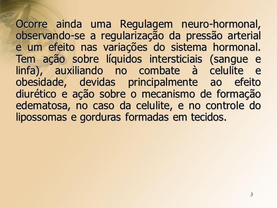 3 Ocorre ainda uma Regulagem neuro-hormonal, observando-se a regularização da pressão arterial e um efeito nas variações do sistema hormonal.