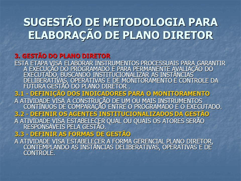 SUGESTÃO DE METODOLOGIA PARA ELABORAÇÃO DE PLANO DIRETOR 3. GESTÃO DO PLANO DIRETOR ESTA ETAPA VISA ELABORAR INSTRUMENTOS PROCESSUAIS PARA GARANTIR A
