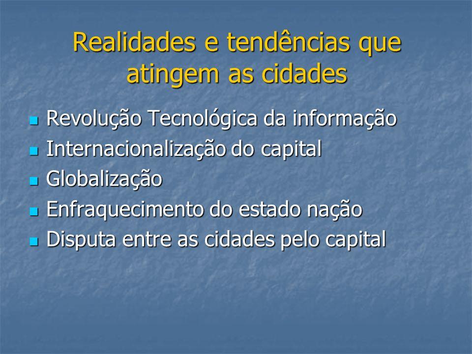 Realidades e tendências que atingem as cidades Revolução Tecnológica da informação Revolução Tecnológica da informação Internacionalização do capital