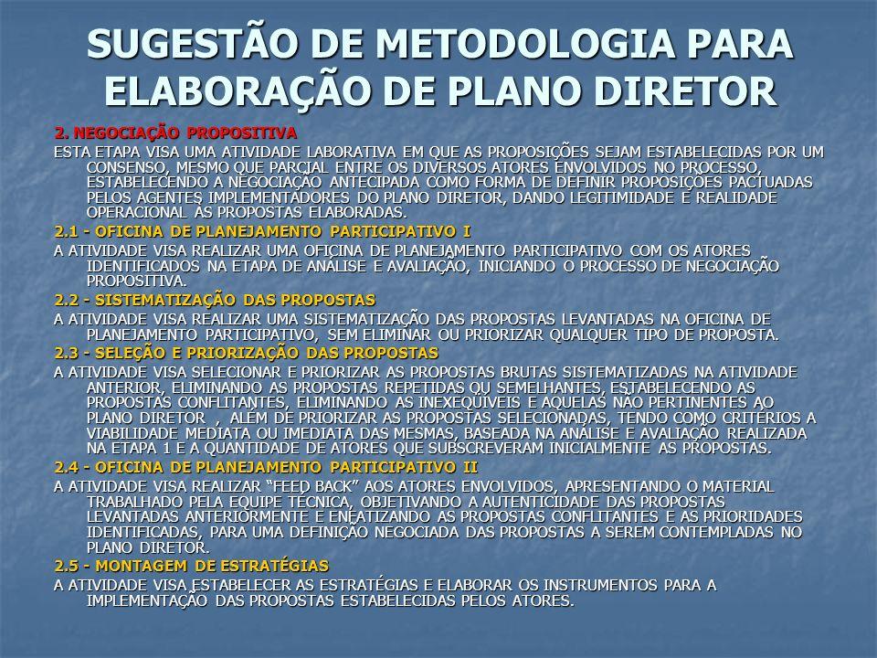 SUGESTÃO DE METODOLOGIA PARA ELABORAÇÃO DE PLANO DIRETOR 2. NEGOCIAÇÃO PROPOSITIVA ESTA ETAPA VISA UMA ATIVIDADE LABORATIVA EM QUE AS PROPOSIÇÕES SEJA