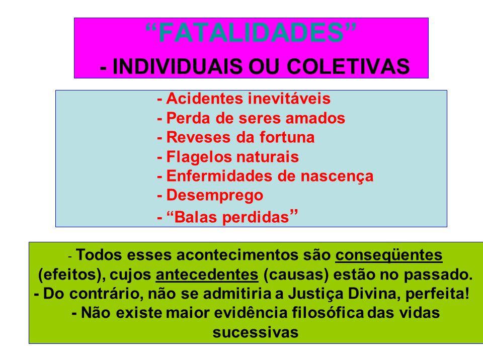 FATALIDADES - INDIVIDUAIS OU COLETIVAS - Acidentes inevitáveis - Perda de seres amados - Reveses da fortuna - Flagelos naturais - Enfermidades de nasc
