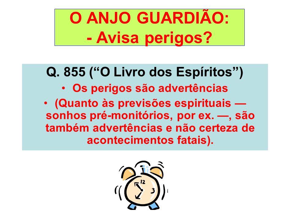 O ANJO GUARDIÃO: - Avisa perigos? Q. 855 (O Livro dos Espíritos) Os perigos são advertências (Quanto às previsões espirituais sonhos pré-monitórios, p