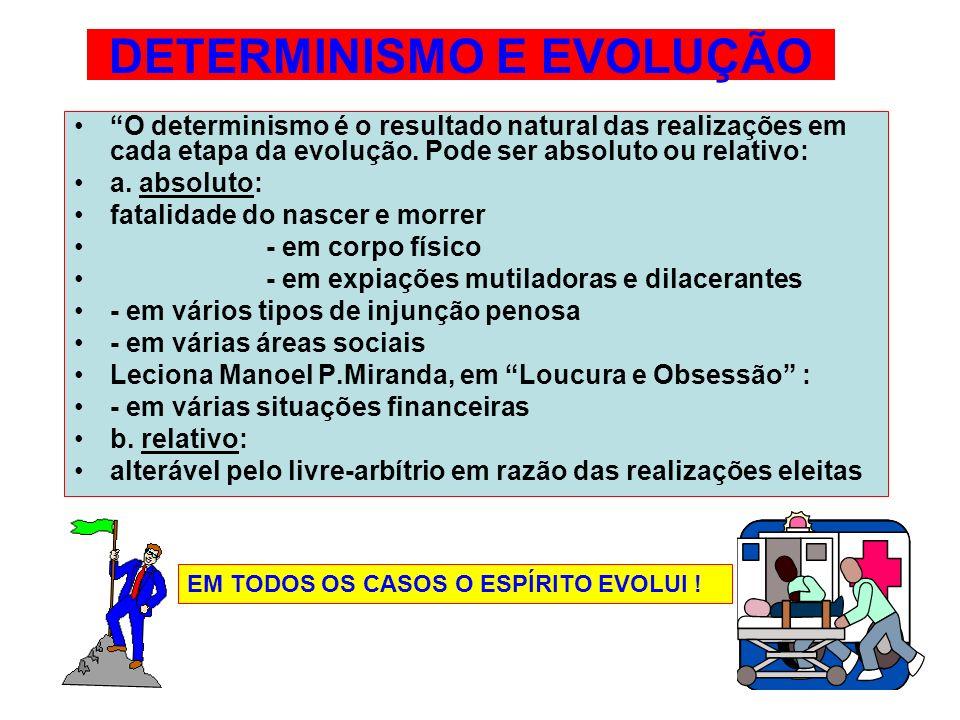 DETERMINISMO E EVOLUÇÃO O determinismo é o resultado natural das realizações em cada etapa da evolução. Pode ser absoluto ou relativo: a. absoluto: fa