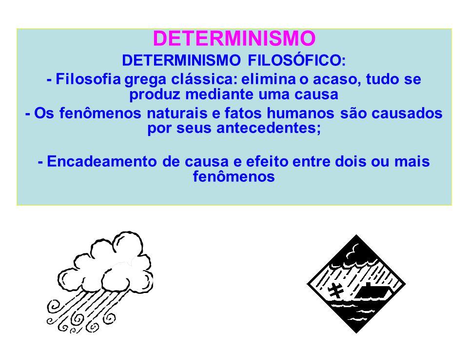 DETERMINISMO DETERMINISMO FILOSÓFICO: - Filosofia grega clássica: elimina o acaso, tudo se produz mediante uma causa - Os fenômenos naturais e fatos h