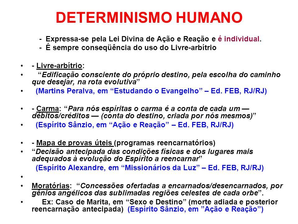DETERMINISMO HUMANO - Expressa-se pela Lei Divina de Ação e Reação e é individual. - É sempre conseqüência do uso do Livre-arbítrio - Livre-arbítrio: