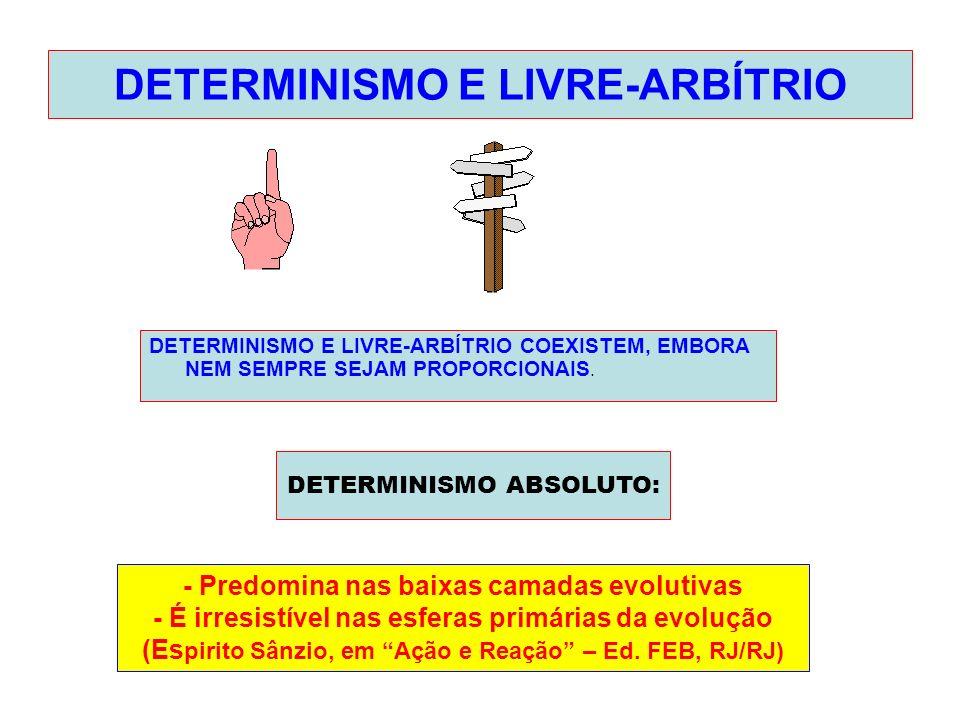 DETERMINISMO E LIVRE-ARBÍTRIO DETERMINISMO E LIVRE-ARBÍTRIO COEXISTEM, EMBORA NEM SEMPRE SEJAM PROPORCIONAIS. DETERMINISMO ABSOLUTO: - Predomina nas b