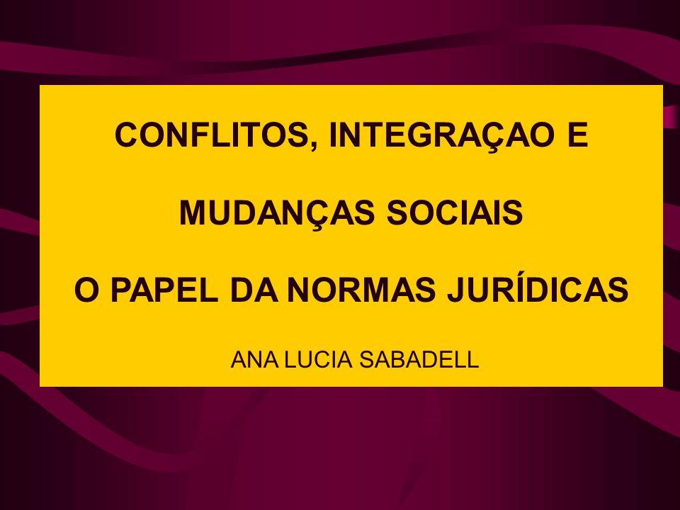 CONFLITOS, INTEGRAÇAO E MUDANÇAS SOCIAIS O PAPEL DA NORMAS JURÍDICAS ANA LUCIA SABADELL