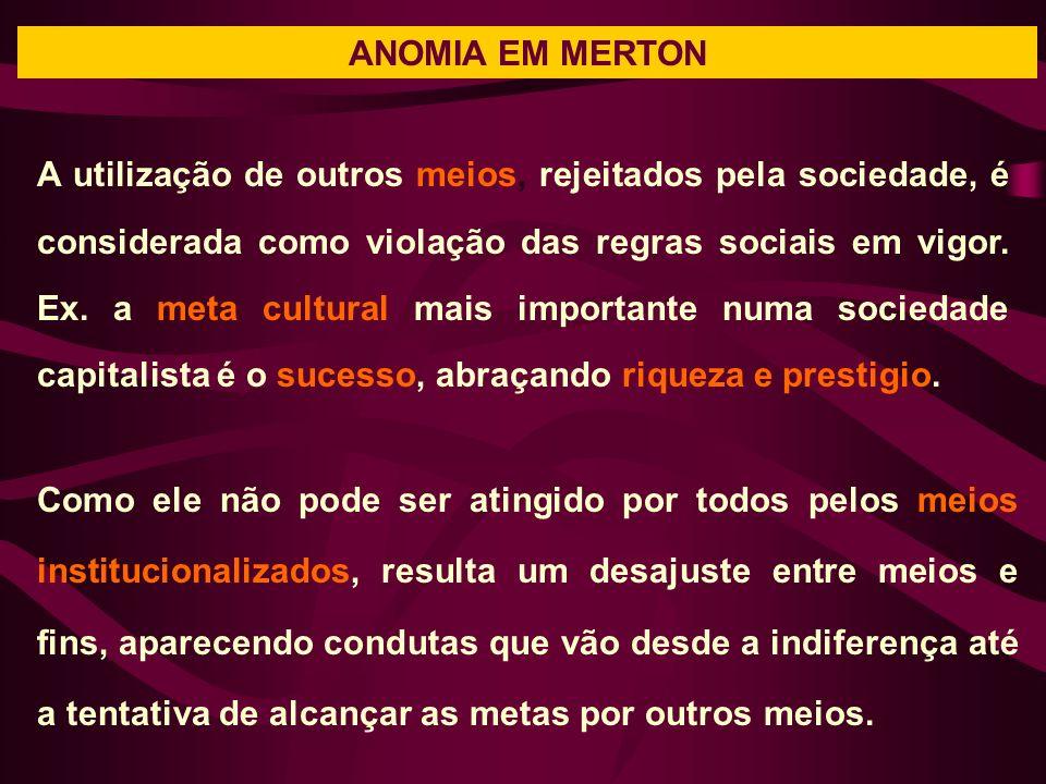 ANOMIA EM MERTON A utilização de outros meios, rejeitados pela sociedade, é considerada como violação das regras sociais em vigor.