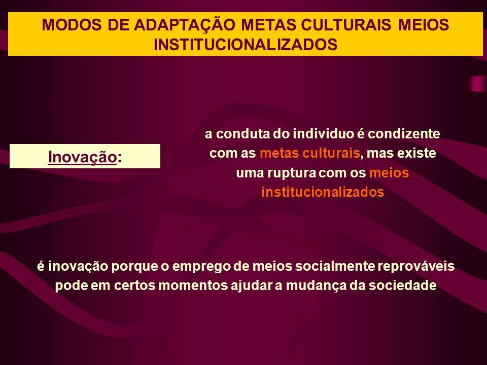 MODOS DE ADAPTAÇÃO METAS CULTURAIS MEIOS INSTITUCIONALIZADOS a conduta do individuo é condizente com as metas culturais, mas existe uma ruptura com os