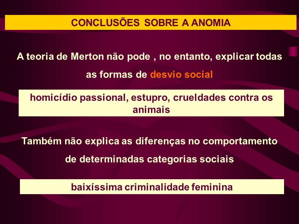 CONCLUSÕES SOBRE A ANOMIA A teoria de Merton não pode, no entanto, explicar todas as formas de desvio social homicídio passional, estupro, crueldades
