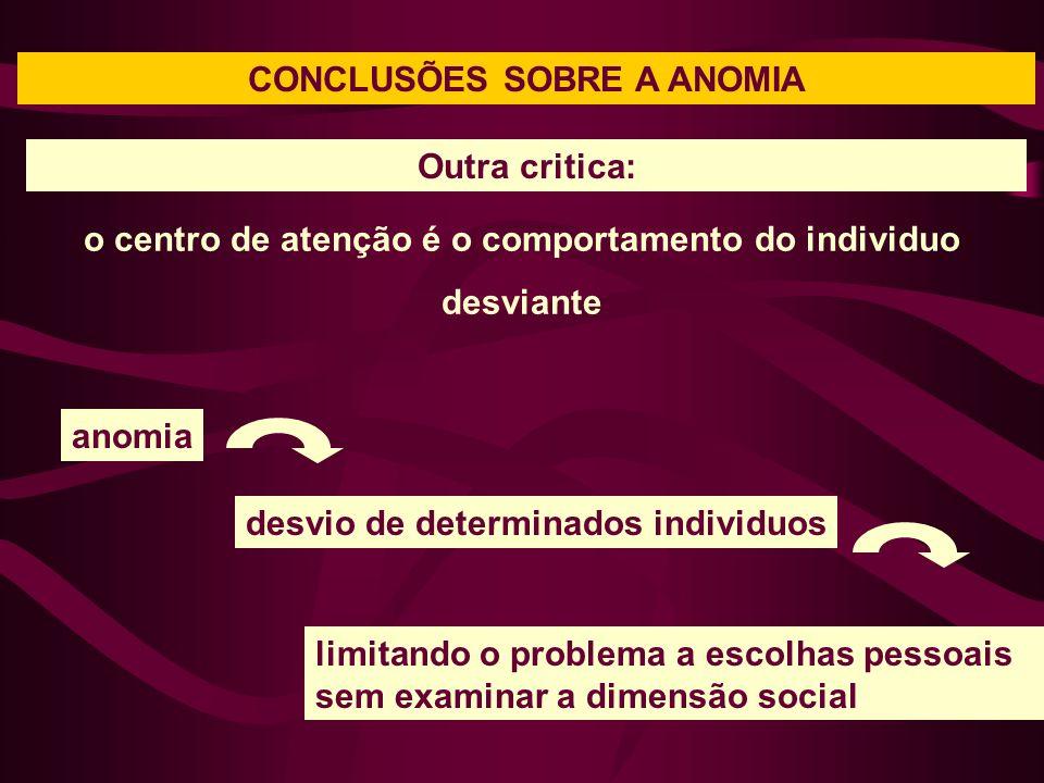 CONCLUSÕES SOBRE A ANOMIA o centro de atenção é o comportamento do individuo desviante Outra critica: anomia desvio de determinados individuos limitando o problema a escolhas pessoais sem examinar a dimensão social