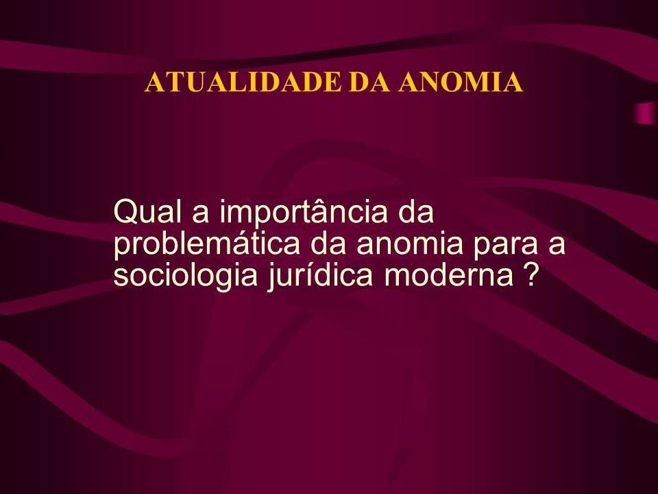 ATUALIDADE DA ANOMIA Qual a importância da problemática da anomia para a sociologia jurídica moderna ?