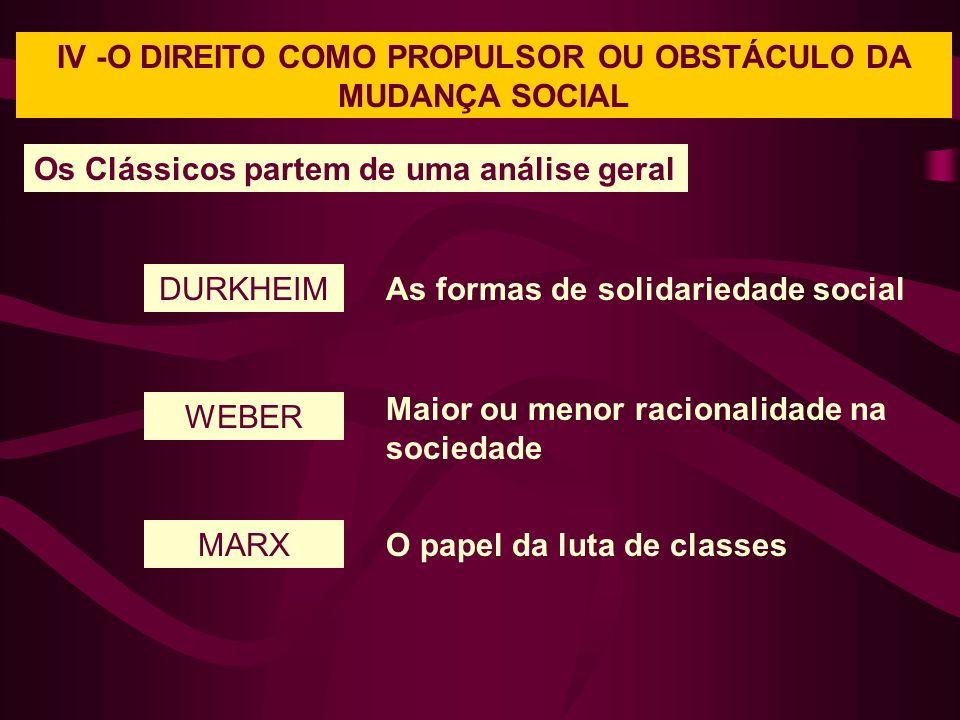 IV -O DIREITO COMO PROPULSOR OU OBSTÁCULO DA MUDANÇA SOCIAL Os Clássicos partem de uma análise geral DURKHEIM WEBER MARX As formas de solidariedade social Maior ou menor racionalidade na sociedade O papel da luta de classes