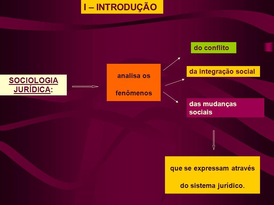 I – INTRODUÇÃO analisa os fenômenos SOCIOLOGIA JURÍDICA: que se expressam através do sistema jurídico. do conflito da integração social das mudanças s