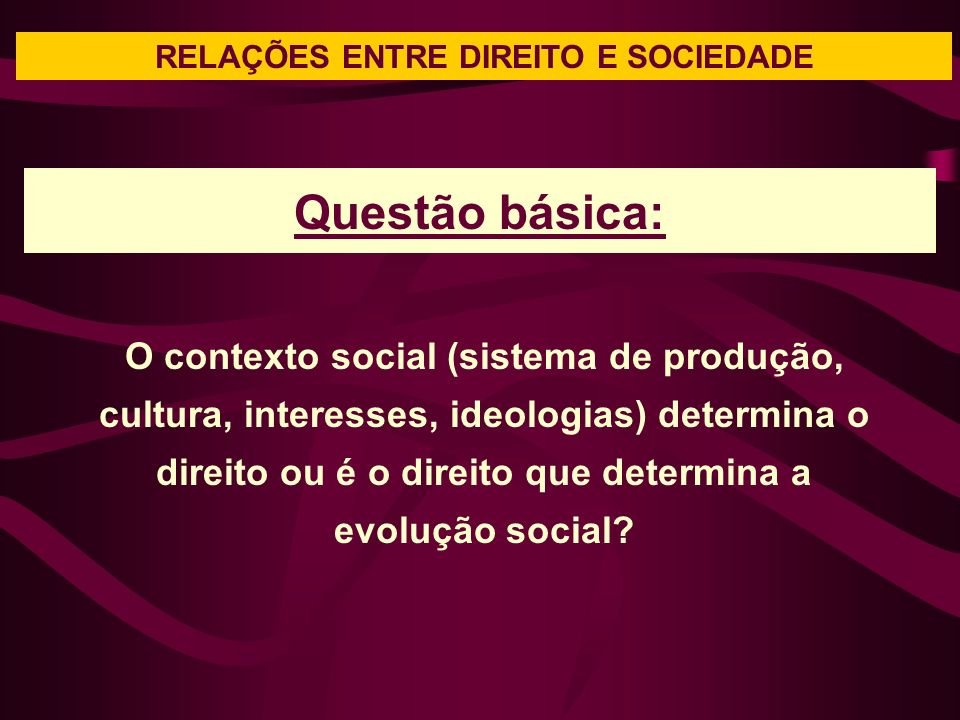 RELAÇÕES ENTRE DIREITO E SOCIEDADE Questão básica: O contexto social (sistema de produção, cultura, interesses, ideologias) determina o direito ou é o direito que determina a evolução social?