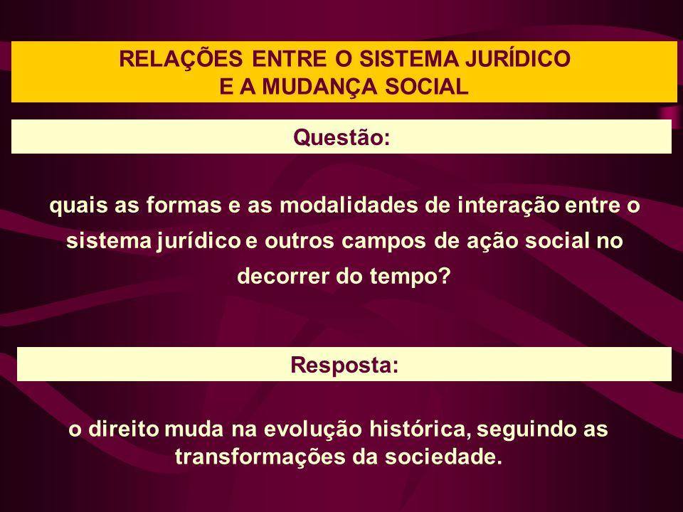 RELAÇÕES ENTRE O SISTEMA JURÍDICO E A MUDANÇA SOCIAL quais as formas e as modalidades de interação entre o sistema jurídico e outros campos de ação social no decorrer do tempo.