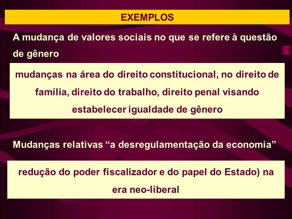 EXEMPLOS mudanças na área do direito constitucional, no direito de família, direito do trabalho, direito penal visando estabelecer igualdade de gênero