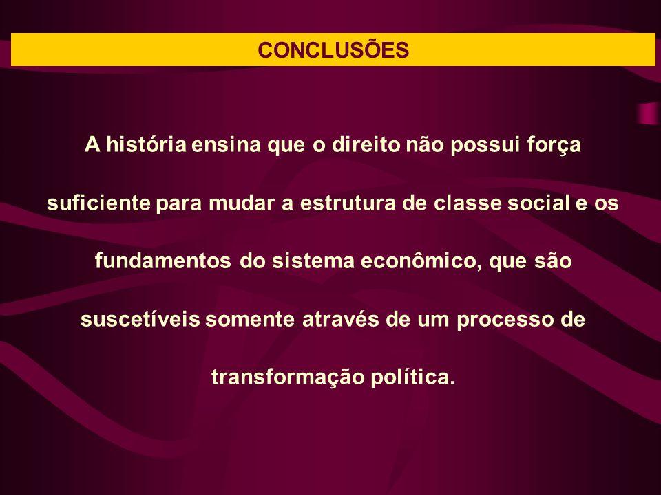 CONCLUSÕES A história ensina que o direito não possui força suficiente para mudar a estrutura de classe social e os fundamentos do sistema econômico, que são suscetíveis somente através de um processo de transformação política.