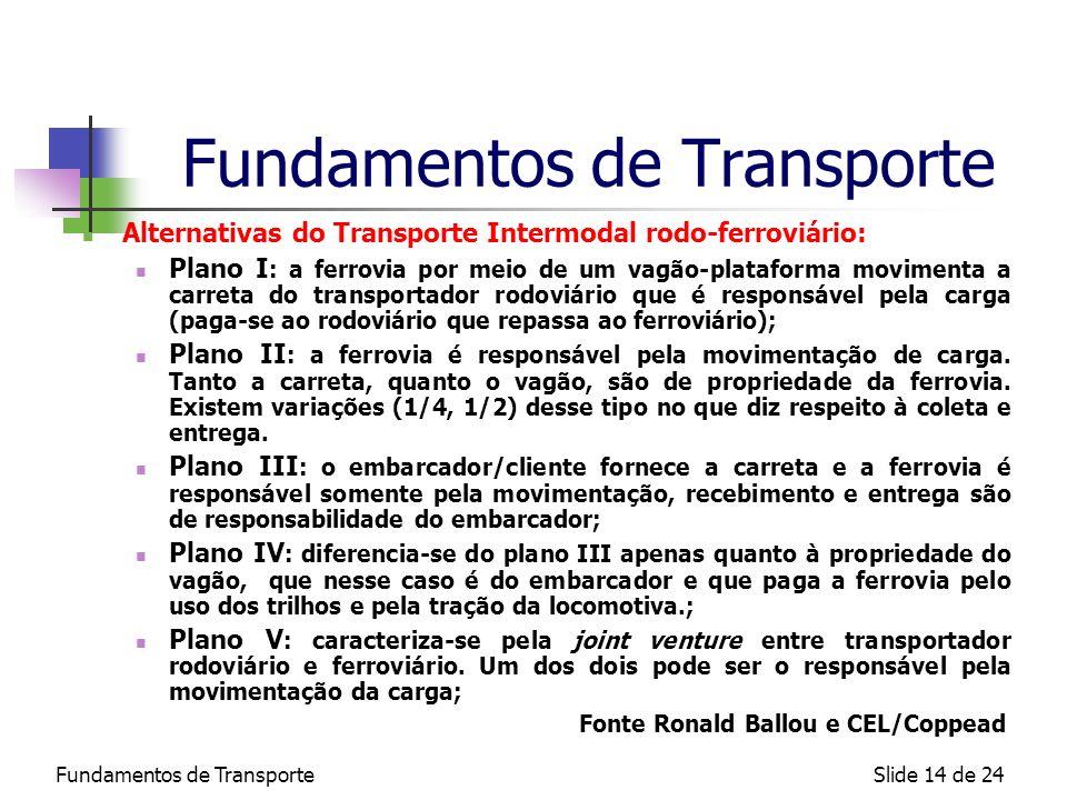 Fundamentos de TransporteSlide 14 de 24 Fundamentos de Transporte Alternativas do Transporte Intermodal rodo-ferroviário: Plano I : a ferrovia por mei
