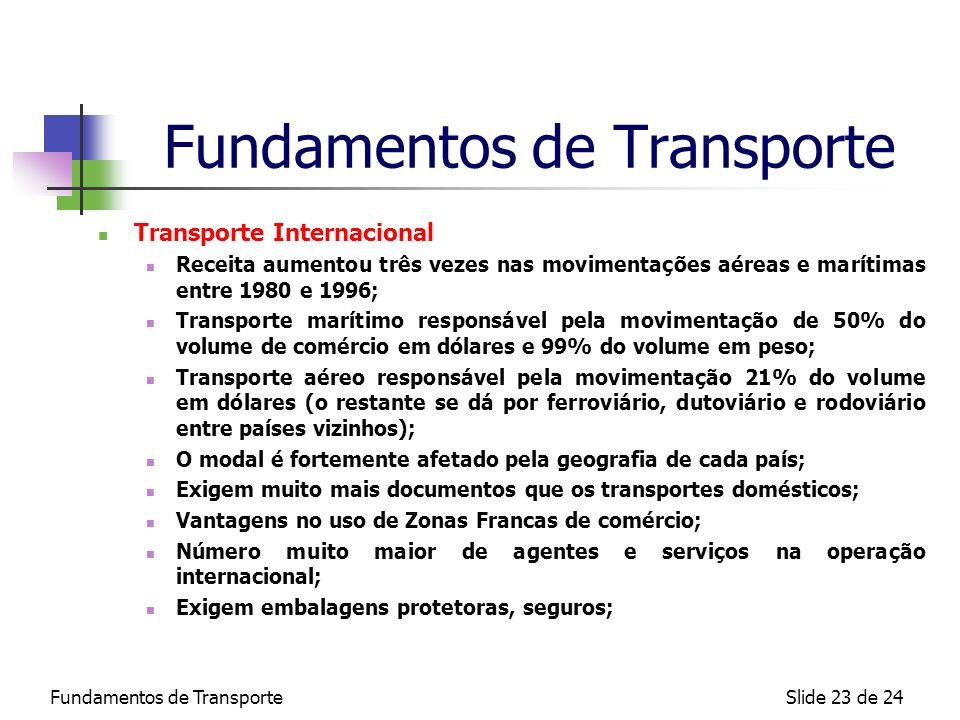Fundamentos de TransporteSlide 23 de 24 Fundamentos de Transporte Transporte Internacional Receita aumentou três vezes nas movimentações aéreas e marí
