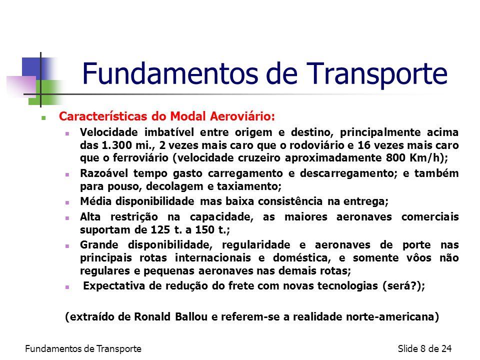 Fundamentos de TransporteSlide 8 de 24 Fundamentos de Transporte Características do Modal Aeroviário: Velocidade imbatível entre origem e destino, pri