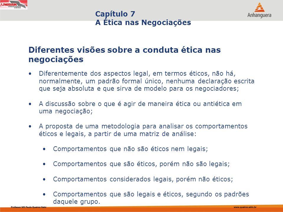Capa da Obra Capítulo 7 A Ética nas Negociações Diferentemente dos aspectos legal, em termos éticos, não há, normalmente, um padrão formal único, nenh