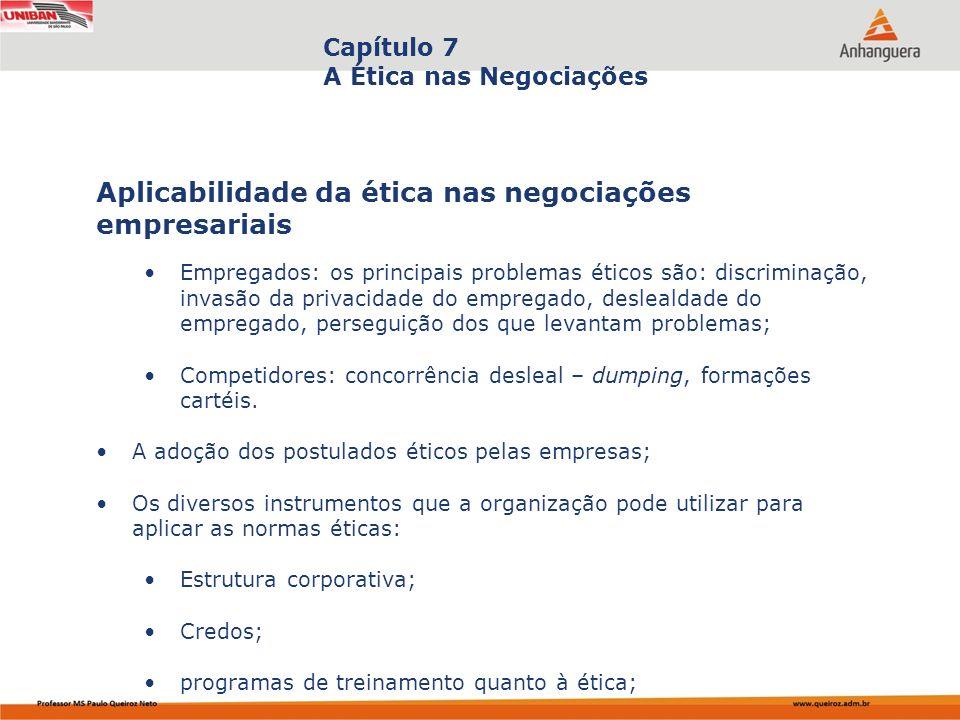 Capa da Obra Capítulo 7 A Ética nas Negociações Empregados: os principais problemas éticos são: discriminação, invasão da privacidade do empregado, de