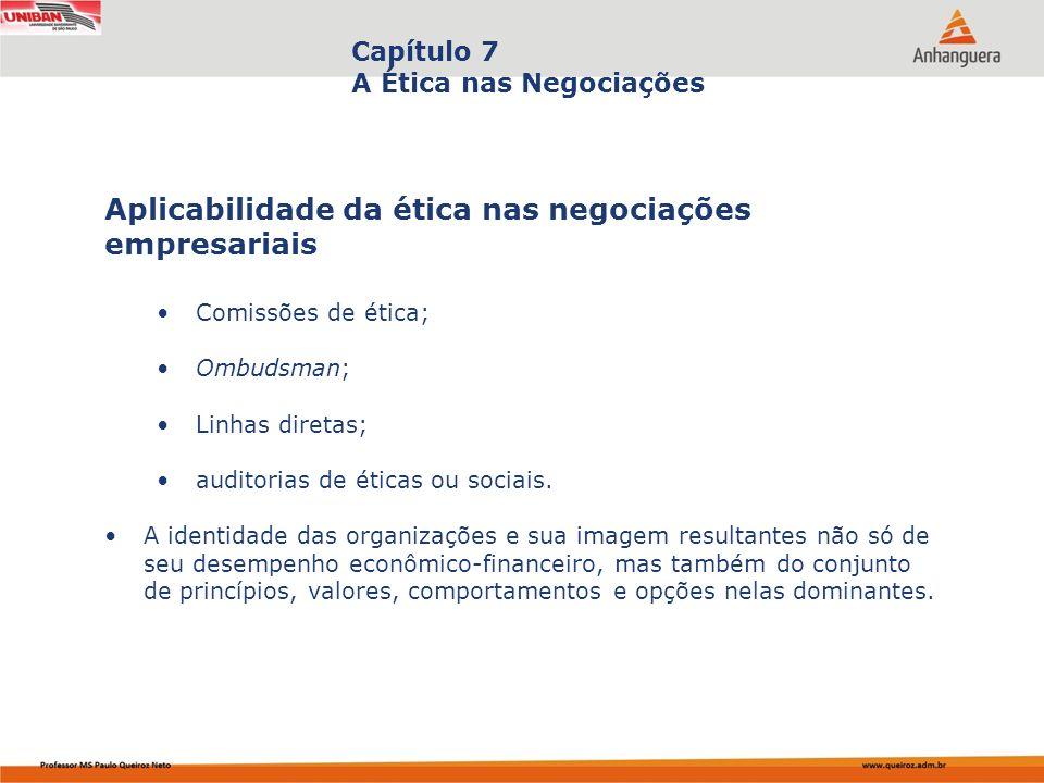 Capa da Obra Capítulo 7 A Ética nas Negociações Comissões de ética; Ombudsman; Linhas diretas; auditorias de éticas ou sociais. A identidade das organ