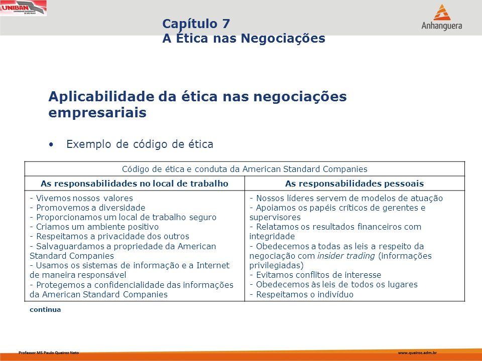 Capa da Obra Capítulo 7 A Ética nas Negociações Exemplo de código de ética Aplicabilidade da ética nas negociações empresariais Código de ética e cond
