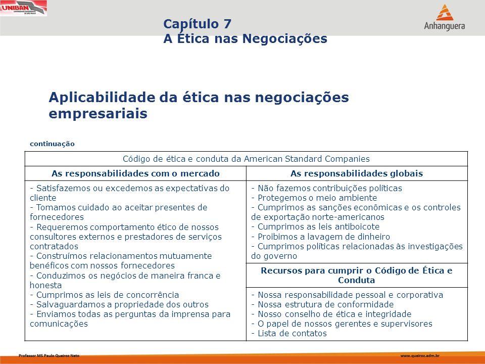 Capítulo 7 A Ética nas Negociações Aplicabilidade da ética nas negociações empresariais continuação Código de ética e conduta da American Standard Com