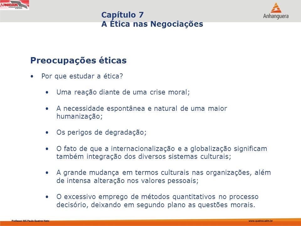 Capítulo 7 A Ética nas Negociações Por que estudar a ética? Uma reação diante de uma crise moral; A necessidade espontânea e natural de uma maior huma